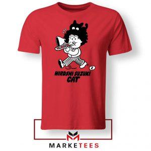 Cat Hiroshi Suzuki Graphic Red Tshirt