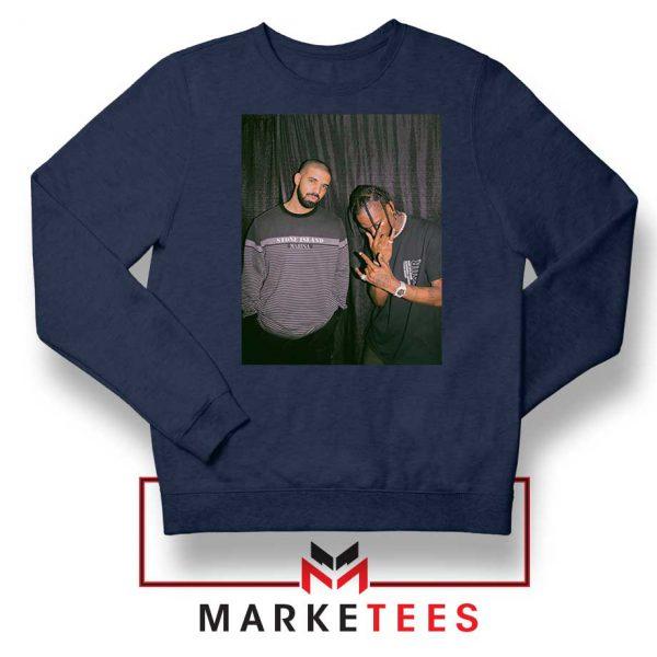 Drake and Travis Scott Navy Blue Sweatshirt