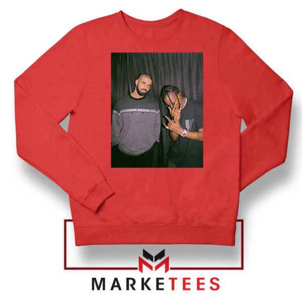 Drake and Travis Scott Red Sweatshirt