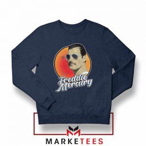 Freddie Mercury Sunglasses Navy Blue Sweatshirt