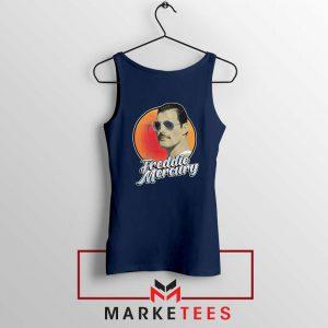 Freddie Mercury Sunglasses Navy Blue Tank Top