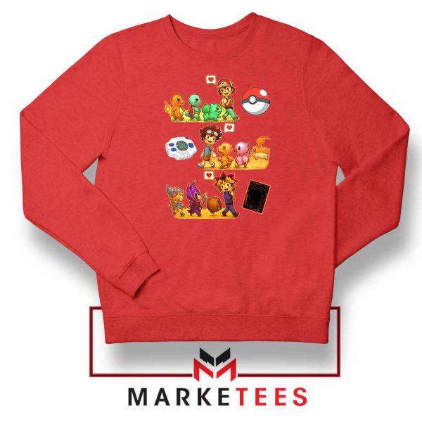 Pokemon Digimon Anime Series Red Sweater