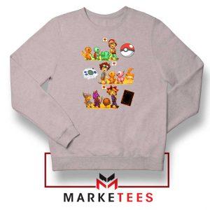 Pokemon Digimon Anime Series Sport Grey Sweater
