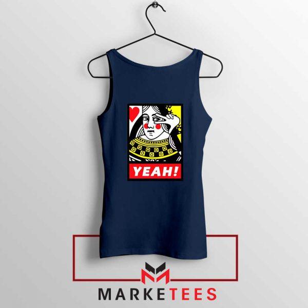 Yeah Poker Queen Design Navy Tank Top