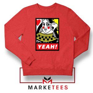 Yeah Poker Queen Design Red Sweatshirt