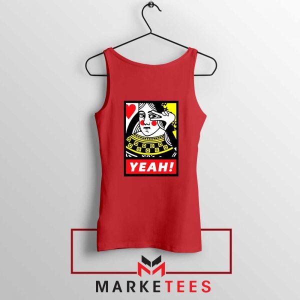 Yeah Poker Queen Design Red Tank Top