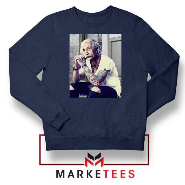 Albert Einstein Tattoo Navy Blue Sweatshirt