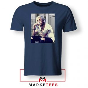 Albert Einstein Tattoo Navy Blue Tshirt