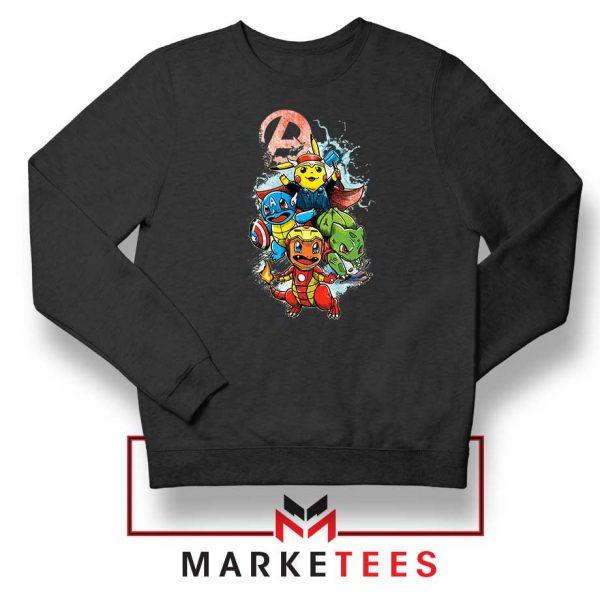 Avengers Pokemon Superhero Black Sweatshirt