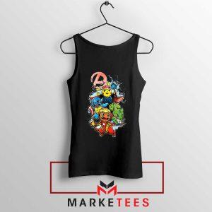Avengers Pokemon Superhero Black Tank Top