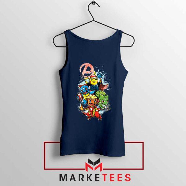 Avengers Pokemon Superhero Navy Blue Tank Top