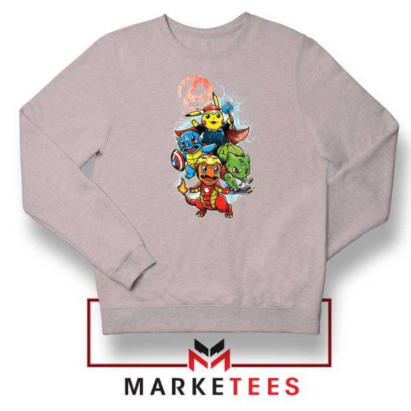 Avengers Pokemon Superhero Sport Grey Sweatshirt