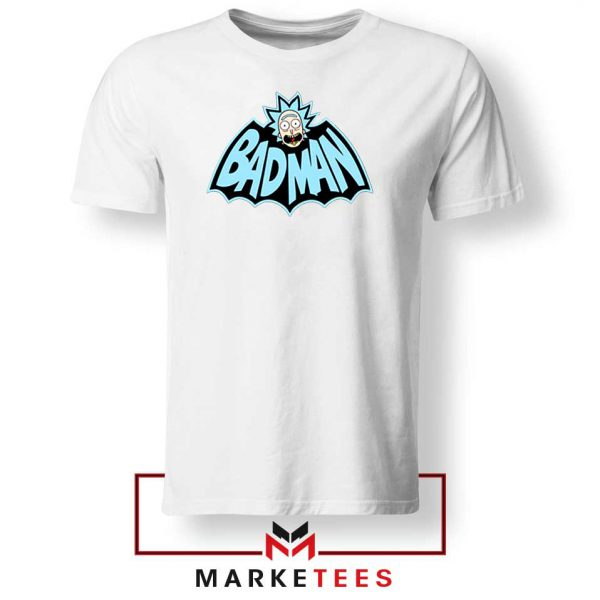 Batman Logo Rick and Morty White Tee