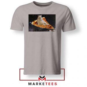 Cat Pizza Funny Design Grey Tshirt
