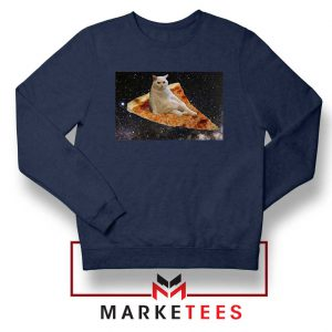 Cat Pizza Funny Design Navy Sweater