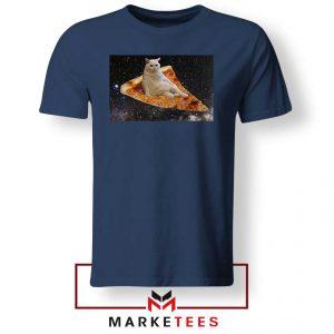 Cat Pizza Funny Design Navy Tshirt