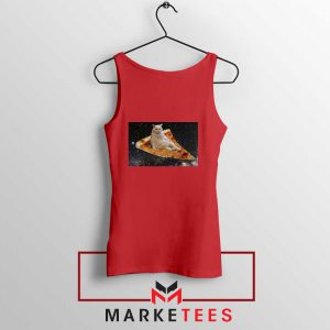 Cat Pizza Funny Design Red Tank Top