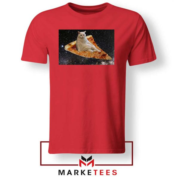 Cat Pizza Funny Design Red Tshirt