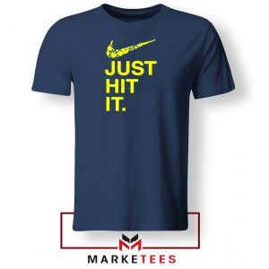 Just Hit It Logo Parody Graphic Navy Blue Tshirt