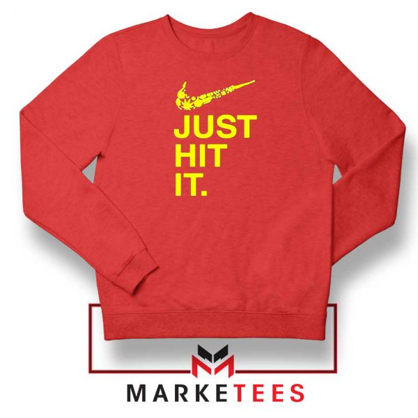 Just Hit It Logo Parody Graphic Red Sweater
