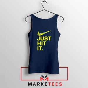 Just Hit It Logo Parody Navy Blue Tank Top