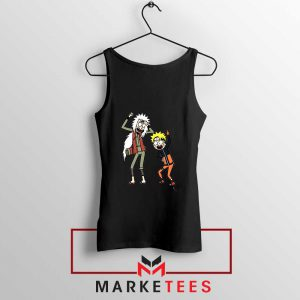 Naruto Rick Morty Design Black Tank Top