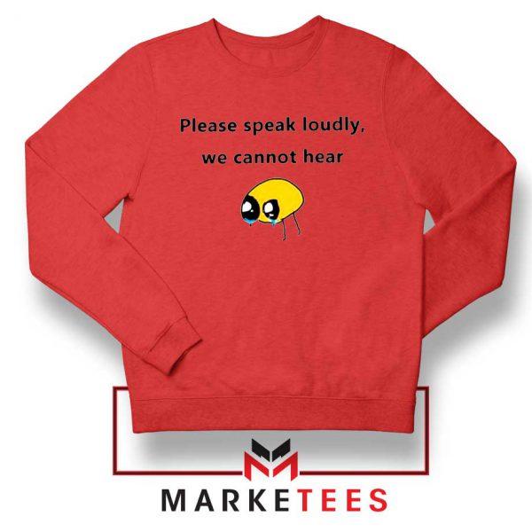 Please Speak Loudly Design Red Sweater