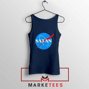 Satan Space Logo Parody Navy Blue Tank Top