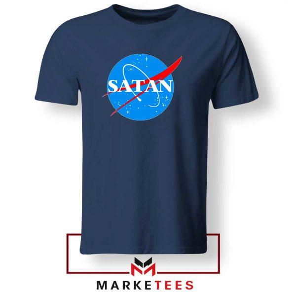 Satan Space Logo Parody Navy Blue Tee