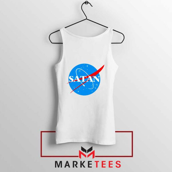Satan Space Logo Parody White Tank Top