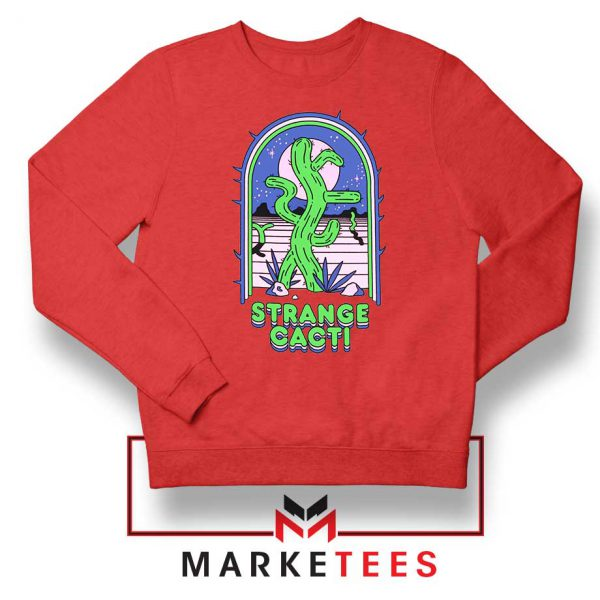 Strange Cacti Night Design Red Sweater